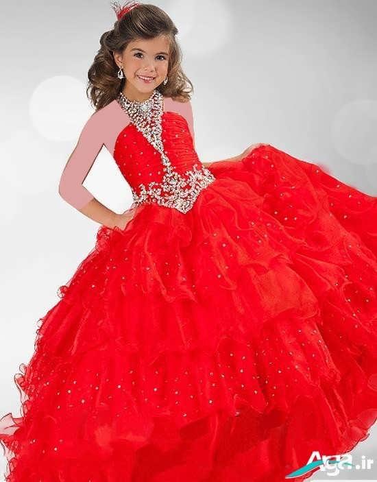 لباس مجلسی قرمز عروسکی