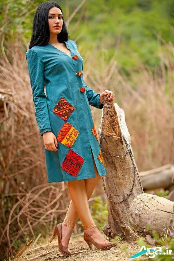 مدل مانتو سنتی آبی