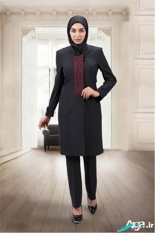مدل مانتو رسمی بسیار زیبا و به رنگ تیره
