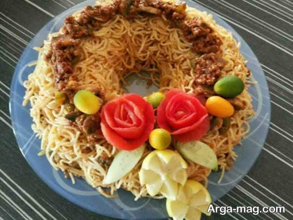تزیینات ماکارونی با سبزیجات و میوه