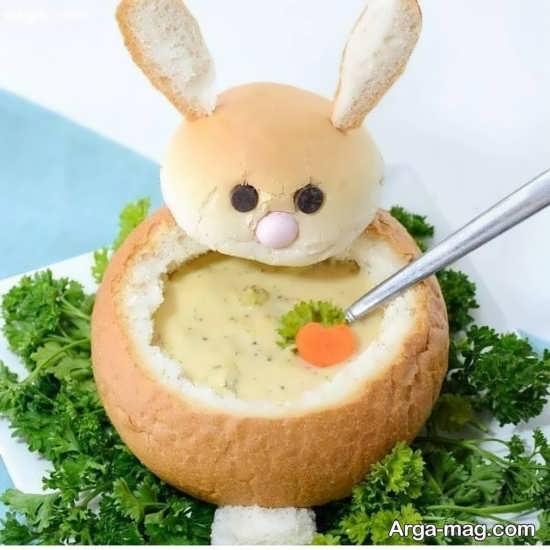 تزئین سوپ به شکل خرگوش