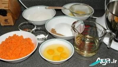 مواد لازم کیک هویج