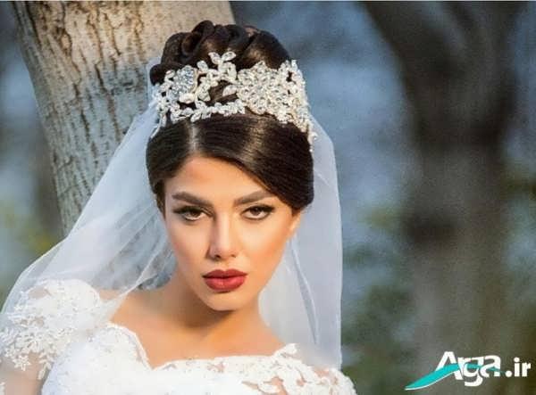 شینیون عروس ایرانی با تاج و تور