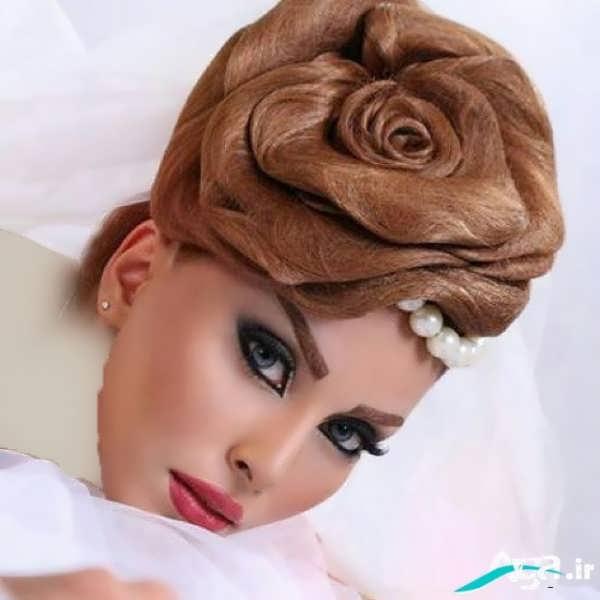 آرایش مو عروس با طرح بسیار زیبا گل