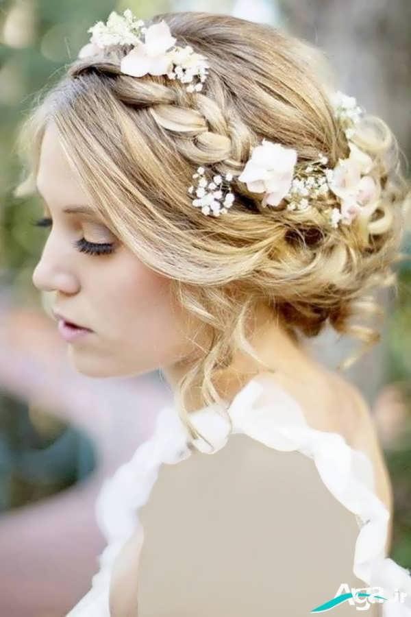 شینیون عروس شیک همراه با بافت بسیار زیبا مو