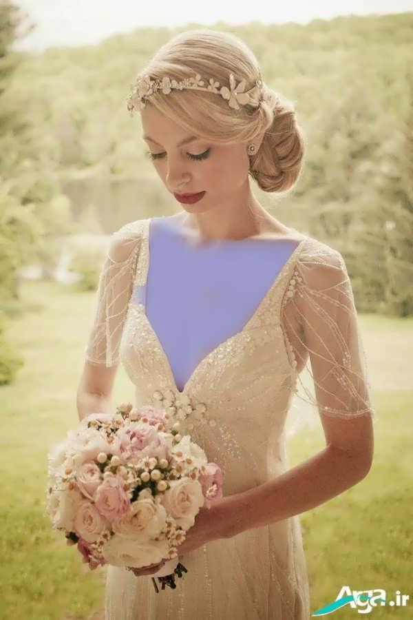 شینیون عروس شیک با رنگ روشن