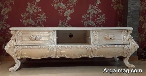 مدل میز tv کلاسیک طلایی