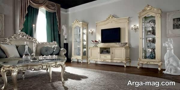 میز tv کلاسیک طلایی سفید