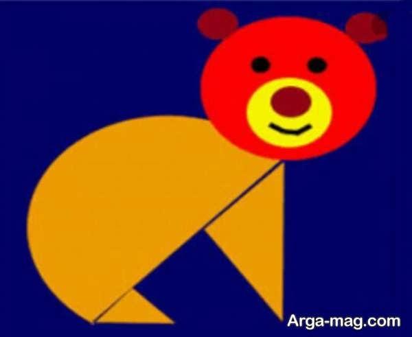 کاردستی خرس ساخته شده با شکل های هندسی