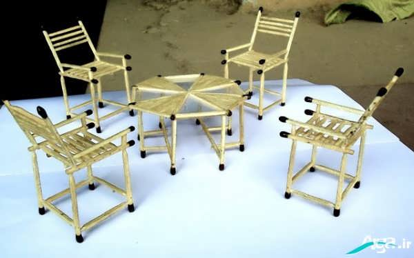 کاردستی با چوب کبریت صندلی