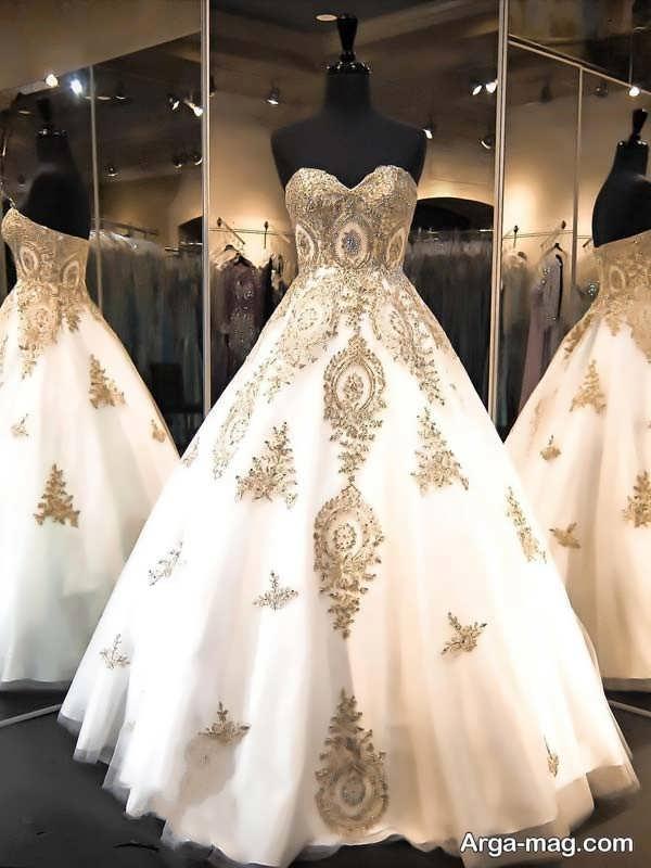 پیراهن عروس دکلته طرحدار