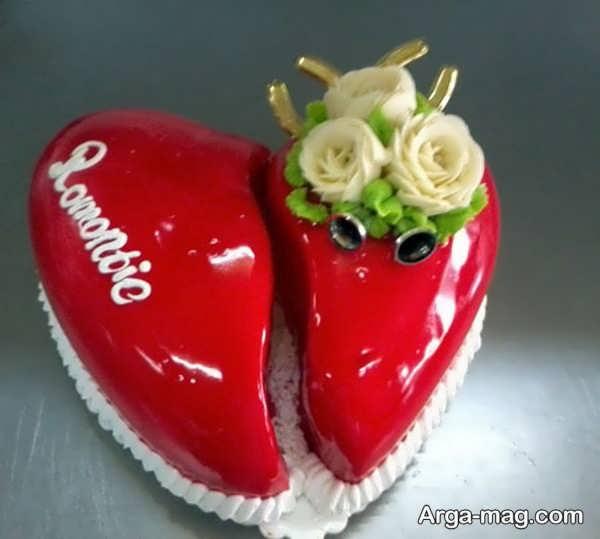 دیزاین جذاب کیک قلبی شکل با ژله