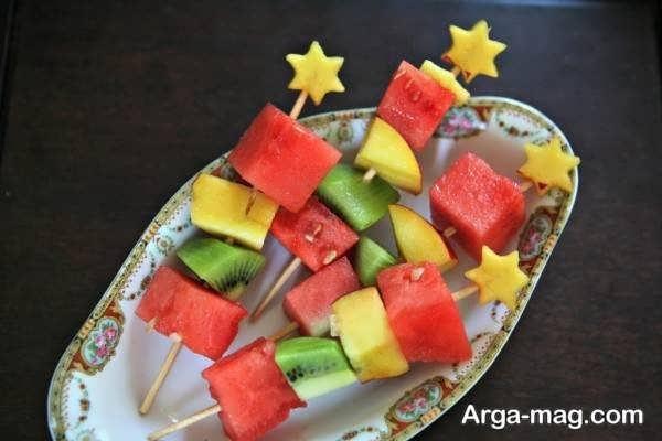 قشنگ ترین تزیین میوه با سیخ چوبی