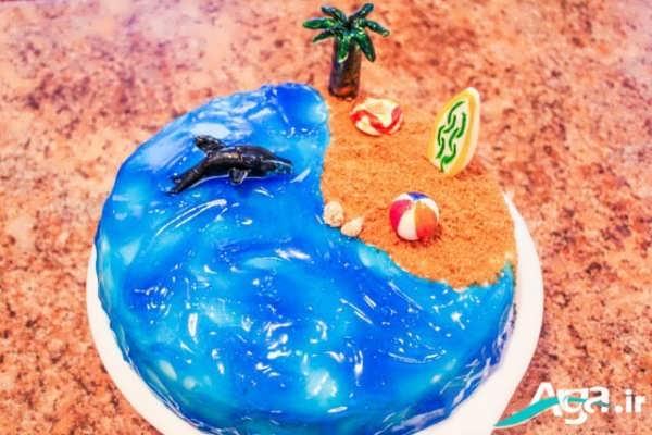تزیین کیک تولد به شکل دریا و کوسه