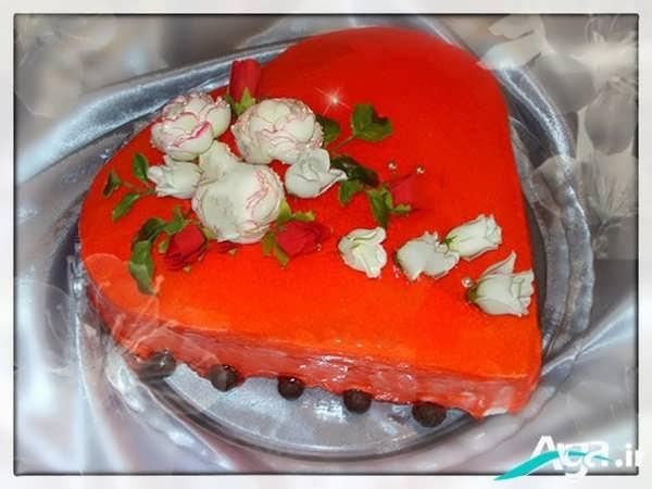 تزیین کیک با ژله مخصوص ولنتاین