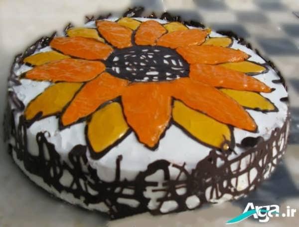 تزیین کیک با دو رنگ ژله