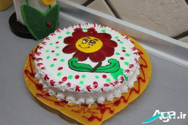 تزیین کیک به شکل گل آفتابگردان با ژله