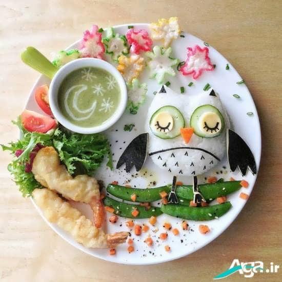 تزیین زیبا غذای کودک