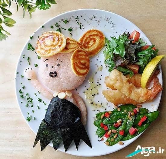 تزیین بسیار زیبای غذای کودک