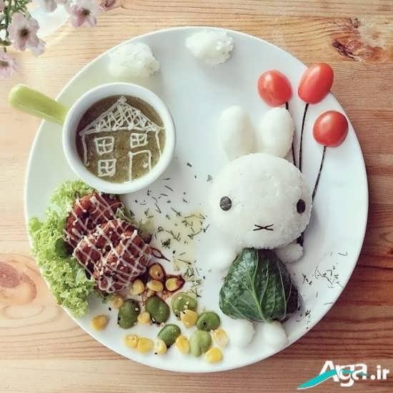 تزیین بسیار زیبا و جذاب غذای کودکان