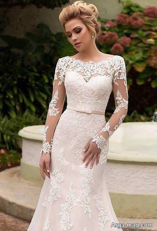 لباس عروس گیپوردار آستین بلند