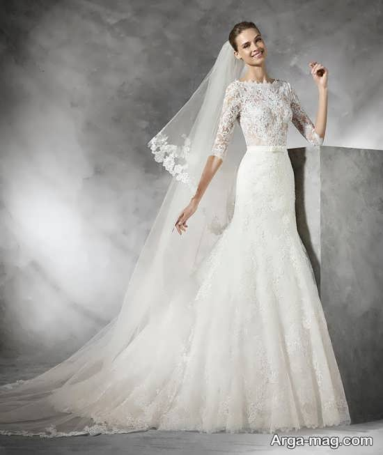 لباس عروس گیپوردار دنباله دار