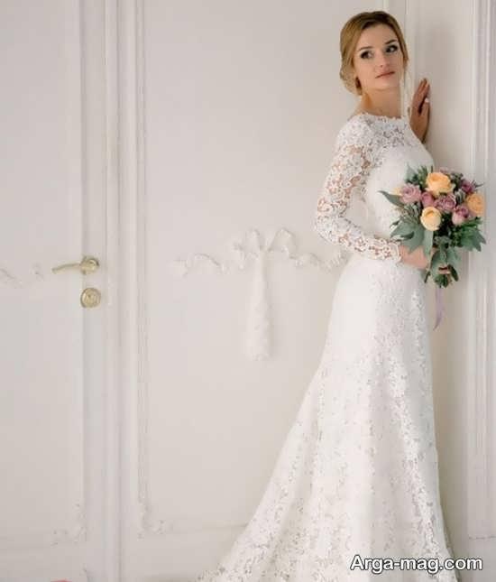 لباس عروس گیپور با طراحی مدرن