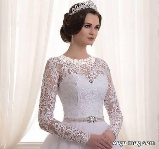 لباس عروس گیپور با طراحی شیک