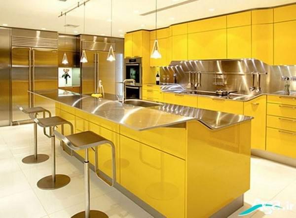 مدل دکوراسیون داخلی آشپزخانه زرد
