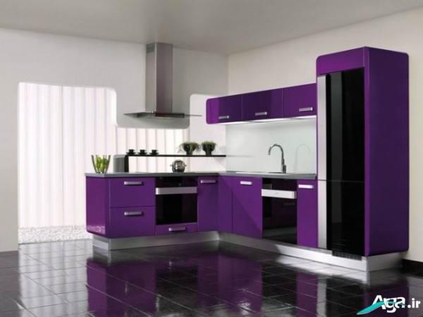 مدل دکوراسیون آشپزخانه بنفش