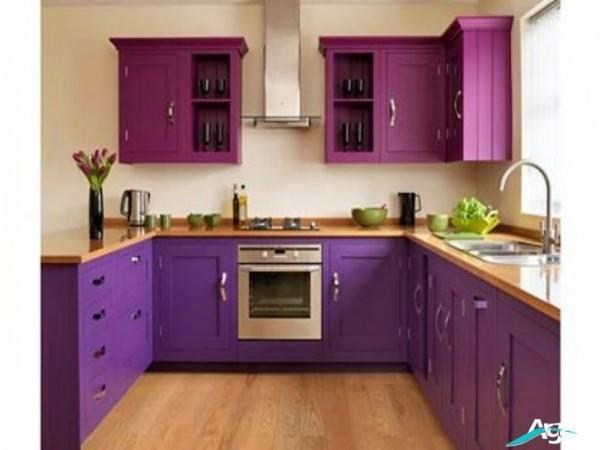 مدل کابینت آشپزخانه بنفش