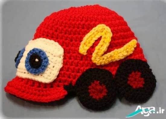 کلاه بافتنی پسرانه با طرح ماشین