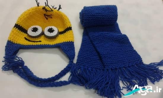 کلاه عروسکس پسرانه به رنگ زرد و آبی
