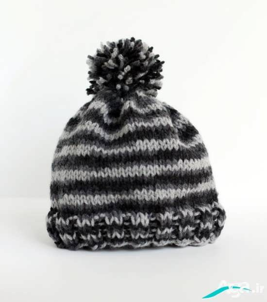 کلاه بافتنی با ترکیب دو رنگ