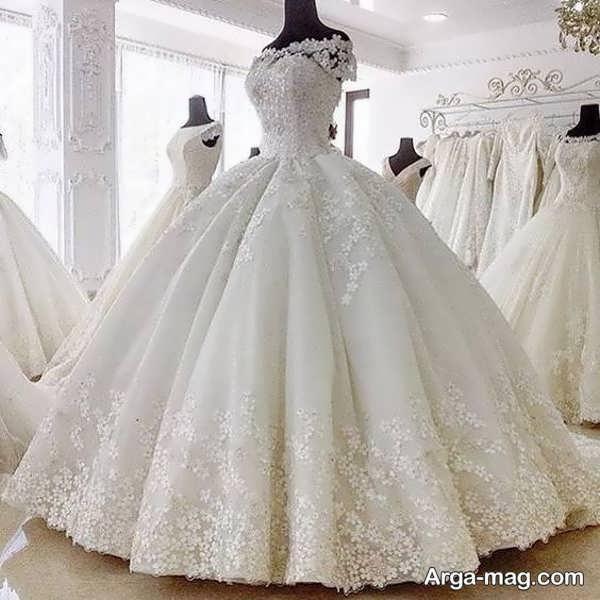 پیراهن عروس دانتل پفی