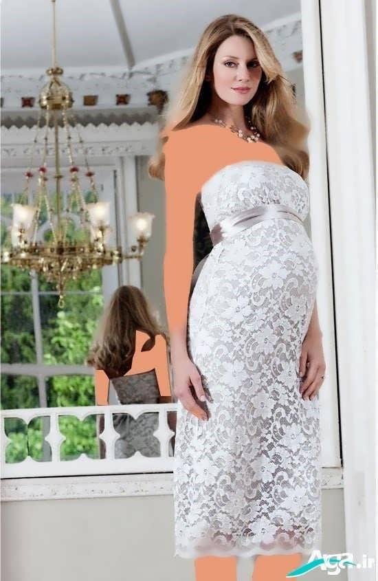 مدل لباس بارداری به رنگ سفید