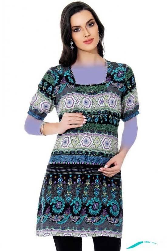 مدل لباس بارداری با پارچه طرح دار