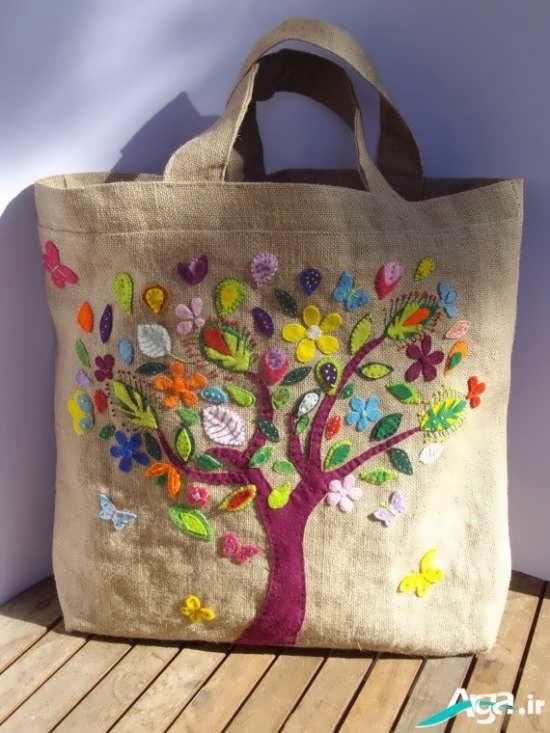 کیف پارچه ای دخترانه با طرح درخت
