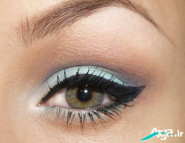 آرایش ساده چشم با رنگ سبز سایه و قهوه ای روشن