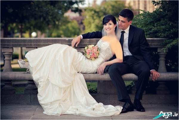 ژست نشسته عروس و داماد