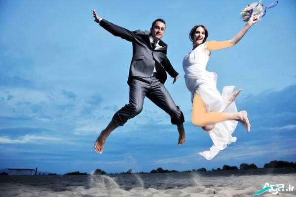 ژست کنار دریا عروس و داماد