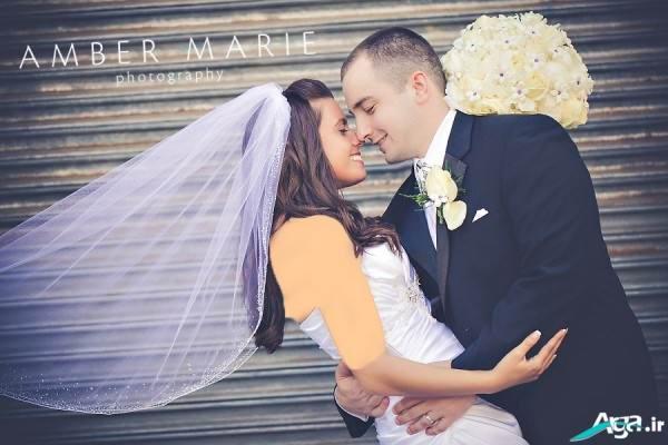 ژست زیبای عروس و داماد