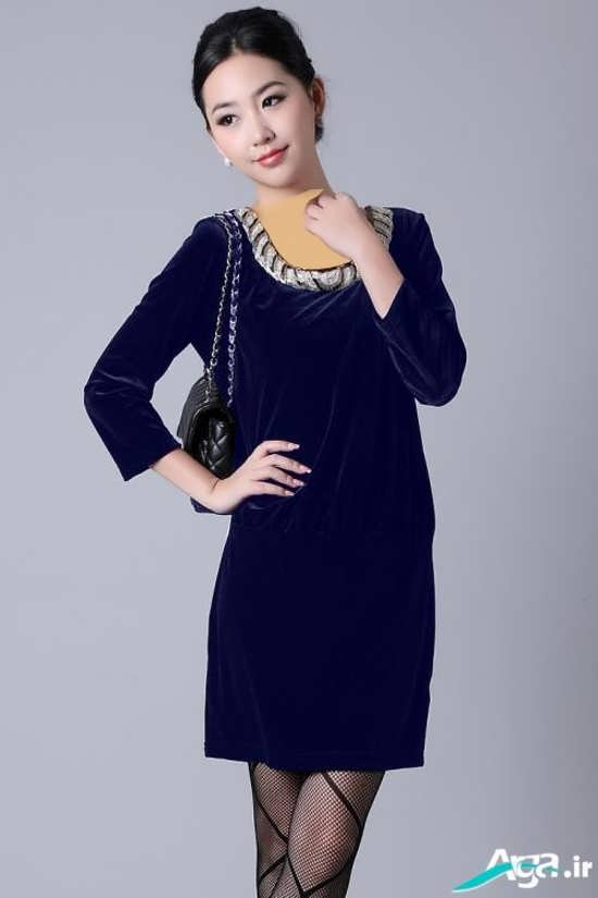 لباس مجلسی کوتاه مخمل با رنگ آبی تیره