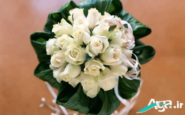 دسته گل رز عرس سفید