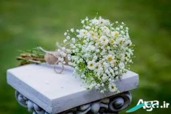 دسته گل عروس با گل بابونه