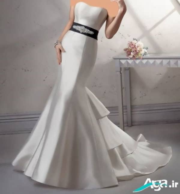 لباس عروس دکلته دنباله دار