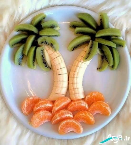 تزیین موز با کیوی و نارنگی