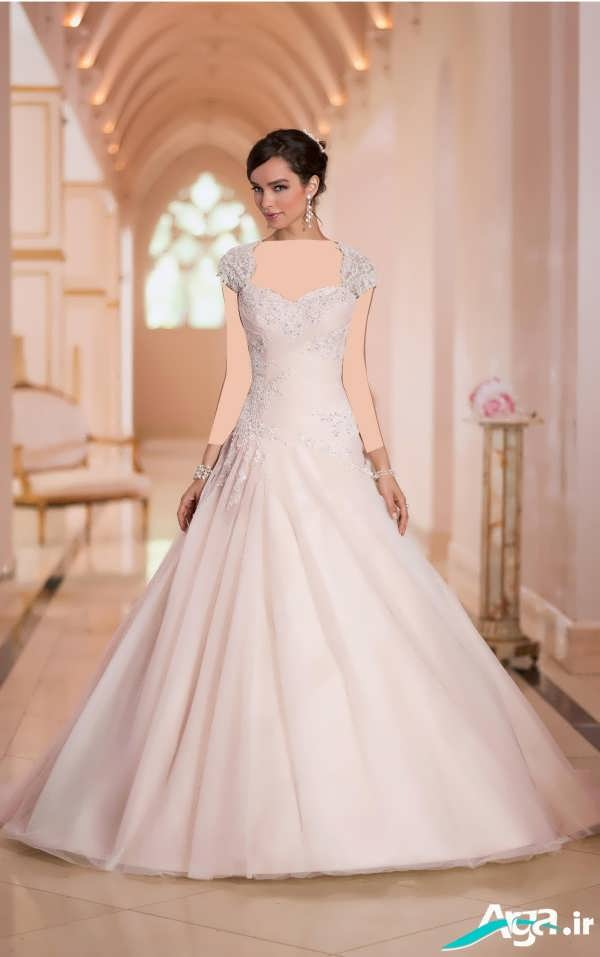 لباس عروس دانتل آستین کوتاه