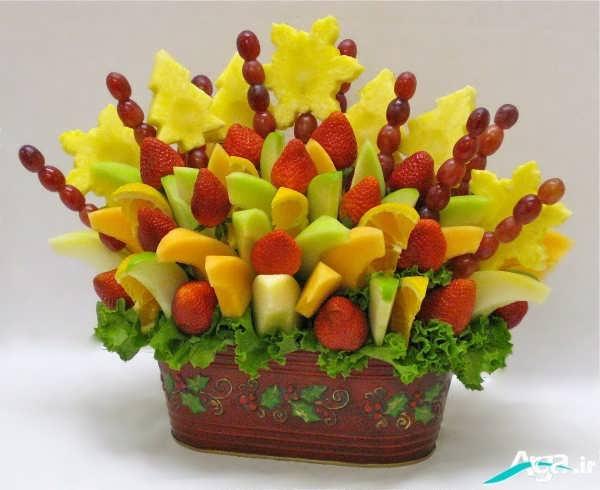 مدل تزیین میوه با سیخ چوبی