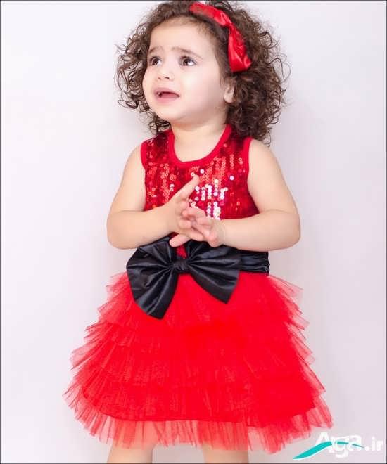پیراهن قرمز دخترانه با کمربند